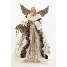 Buy 16quot Elegant Gold Amp White Angel With Glittered Wings