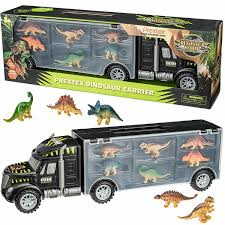 100 Truck Carrier NEW Plastic Toys 16 Dinosaurs Tractor Trailer Dinosaurs