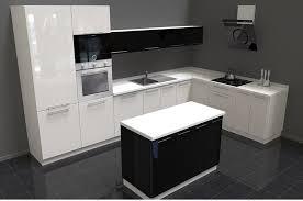 küche l form weiß hochglanz schwarz hochglanz mit kochinsel neu