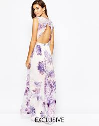 true violet floral maxi dress with open back in purple lyst
