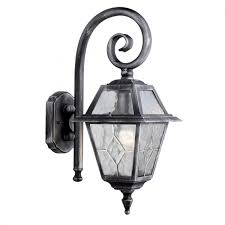 genoa ip44 black silver outdoor wall light with lead glass
