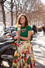 women u0027s green short sleeve blouse white floral full skirt silver