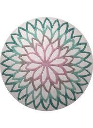 tapis rond lotus flower gris