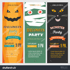 Free Cute Halloween Flyer Templates by Halloween Party Invitations Vertical Banners Set Stock Vector