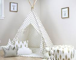 Polka Dot White Gold Teepee Teepees For Kids Childrens Play Tents