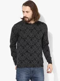 Black Printed Slim Fit Round Neck Sweaters