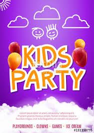 Kids Party Art Flyer Design Balloons Poster Template Preschool Fun Event