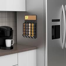 Mind Reader Fridge Wall Mount Coffee Pod K Cup Dispenser With Cork Top Black