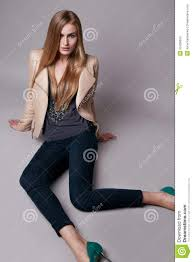 beautiful model woman in casual clothes catalog collection stock
