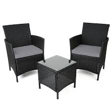 Amazon Uk Patio Chair Cushions by Ebs 3 Piece Rattan Outdoor Garden Furniture Patio Set Clearance