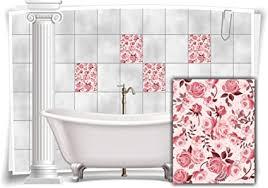 medianlux fliesen aufkleber fliesen bild kachel blumen rot rosa sticker bad wc deko küche digitaldruck folie 12 stück 20x25cm m13m70h 95958
