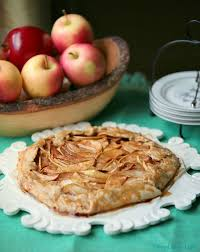Healthy Low Calorie Apple Galette With OIl Crust And Caramel Glaze
