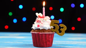 Delicious Birthday Cupcake With Burning Candle And Number 53 On Multicolored Blurred Lights Background Stock Footage