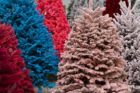 Pink Christmas Tree Flocking Spray by Flocked Christmas Tree With Multi Colors Stock Photo Picture And