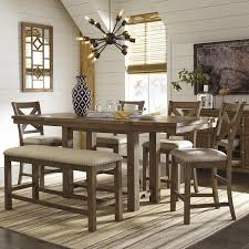 Moriville 6 Piece Counter Height Dining Set In Nutmeg