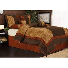 Chocolate And Burnt Orange forter Set Sybil 7 Piece Bedding