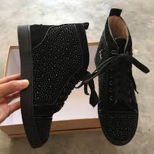 original brand lou boutins men sneakers latest black suede with
