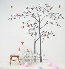 Wall Mural Decals Nature by Tree Wall Decal Birds Wall Decals Nursery Vinyl Wall Decals Forest