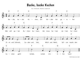 5 backe backe kuchen text lied sheet