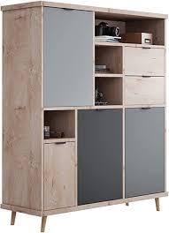 newfurn highboard grau eiche hirnholz kommode modern vintage 120x141x40 cm bxhxt schrank sideboard anrichte conni five wohnzimmer