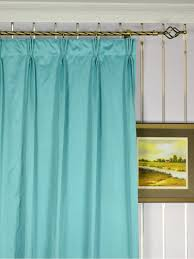 108 Inch Blackout Curtain Liner by Waterfall Solid Blue Triple Pinch Pleat Faux Silk Curtains