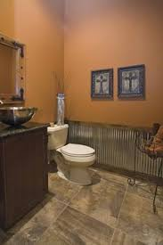 Corrugated Tin Wainscoting On Bottom Of Western Bathroom Wall Want To Use This In The Home
