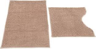 välson badematte wc garnitur chenille braun beige 50 x 80 50 x 50 cm rutschfest saugfähig
