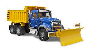 100 Bruder Logging Truck Mack Granite Dump With Plow Blade Union Farm Equipment