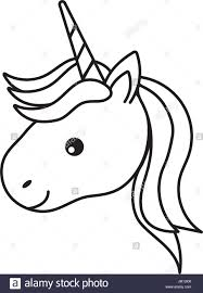 962x1390 Line Cute Unicorn Head With Horn And Hairstyle Stock Vector Art