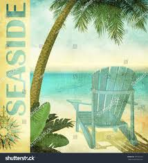 Vintage Summer Poster Faded Lounge Chair Stock Vector ...