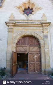 Front entrance of the Carmel Mission Basilica with open door