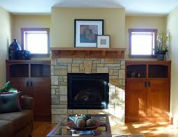 Living Room With Fireplace And Bookshelves by Prairie Woodworking Fireplace And Built In Bookshelves Prairie