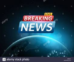 Breaking News Live Abstract Futuristic Background With A Glowing Blue Planet Earth Technology And Business On TV Space Stars Vector Illu