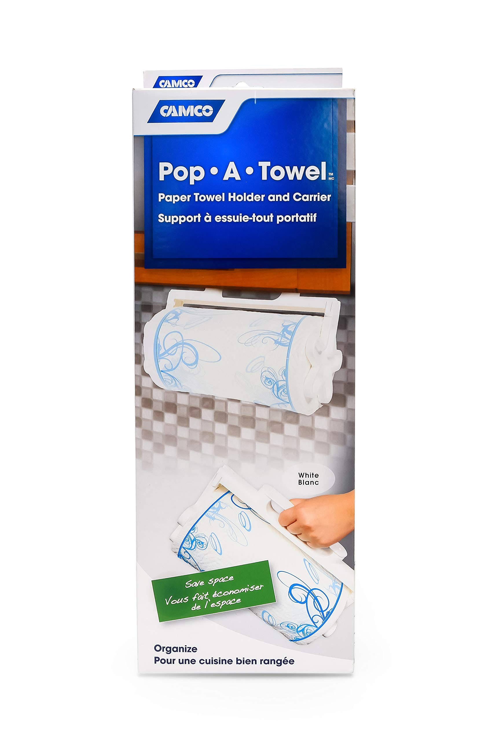 Camco Pop-A-Towel Paper Towel Holder Carrier - White
