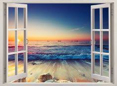 Wall Mural Decals Beach by Beach Wall Decal 3d Window Tropical Coast Wall Decal For Living