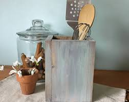 Wood Kitchen Utensil Holder Housewarming Gift Decor Farmhouse