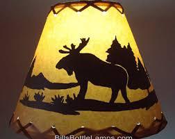 Moose LAMP SHADE Rustic Cottage Table Light Lamp Shade Oil Kraft Clip On Bulb