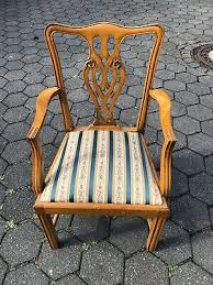 englische möbel esszimmer mahagoni stil stühle bezogen