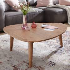 finebuy couchtisch aus massivholz akazie nierentisch wohnzimmertisch im landhaus stil design holz tisch nierenform lounge tisch echt holz