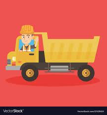 100 Dump Truck Drivers Little Caucasian Driver Driving A Dump Truck Vector Image