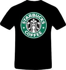 Starbucks Coffee Custom Tshirt 2XL BLACK