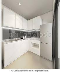 Modern White Kitchen Interior 3d Rendering Stockfoto Und 3d Rendering Modern Kitchen Interior Illustration