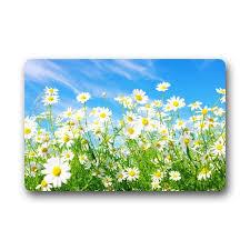 Daisy Flower Door Mats Cover Non Slip Machine Washable Outdoor Indoor Bathroom Kitchen Decor Rug Mat