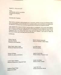 Esta Es La Carta De Renuncia Colectiva Que Presentaron Los Ministros