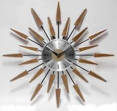 Sunburst Clock Mid Century Modern Wall Decor Vintage Starburst Retro Metal Mod