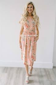 peach yellow spring floral pocket modest dress best and