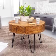 couchtisch sheesham massivholz metall 60x44 5x60 cm tisch wohnzimmer design beistelltisch mit schubladen kleiner wohnzimmertisch rund braun