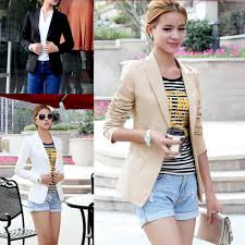 new women slim one button short blazer suit jacket coat long