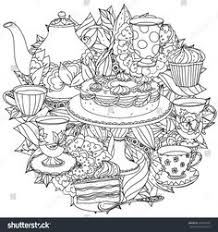 Contoured Cakes Cupcakes Sweets Teapot And Cups For Tea Time Flowers In