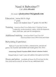 Babysitter Job Description Resume Example